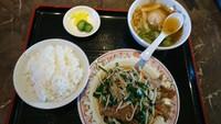 ニラレバ炒め定食。餃子の王将、中地店、それがどうした