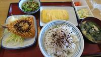 アジフライ、納豆、紅しょ入りだし巻き、明太子、サラダ、みそ汁、ご飯。