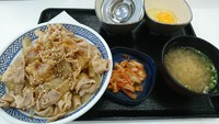 スタミナ丼というのは豚肉と玉ねぎをニンニク醤油のタレで炒めてご飯の上に乗っけたのん。吉野家でぇすv(´∀`*v)ピース