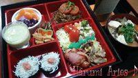 Aries♪主婦のお弁当♡煮込み豆腐ハンバーグ&しらす明太おむすび