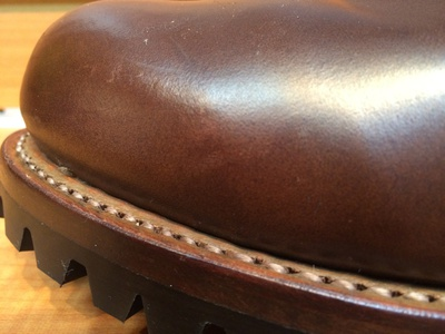 8258×Vibram#100‐アウトステッチ:茶糸+履き口伸ばし