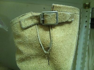 スエードエンジニア 履き口(V字切り込み部分)ホコロビ縫い