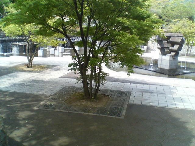 書写ロープウェイ駅前の木陰