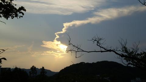 西の丸から見た夕日