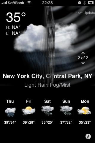 iPhoneでTouchFLO3Dお天気