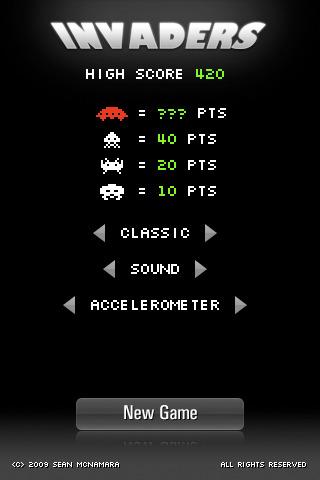 iPhoneでインベーダーゲーム