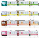 姫路市内を駆け抜ける カラフル電車