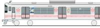 アニメのラッピング車両。山陽電車の直通特急として本日運行開始