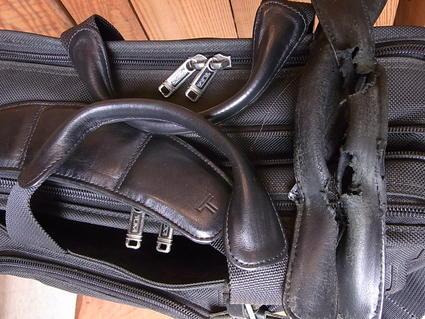 TUMI書類鞄 持ち手革カバー交換