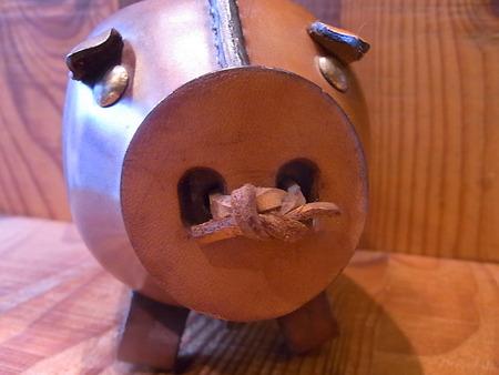 牛革製、豚の貯金箱