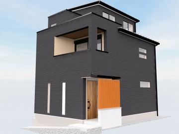 中山手通の家、3階建てが上棟