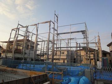 中津の家、新築工事進行中