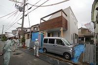 北野Ⅱの家、外装完成し、内装工事中