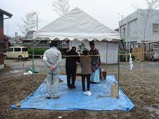 「松江Ⅱの家」の解体が終わり、地鎮祭