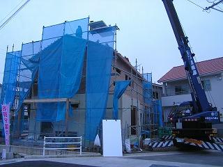 「溝之口の家」、上棟