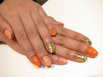 パラジェルオレンジ系のおしゃれネイル