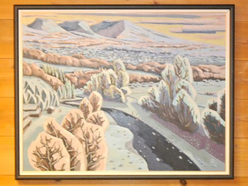 まきば日記 浅間山と千曲川の風景 油彩
