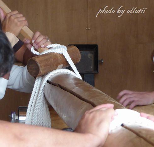 屋台のロープ締め