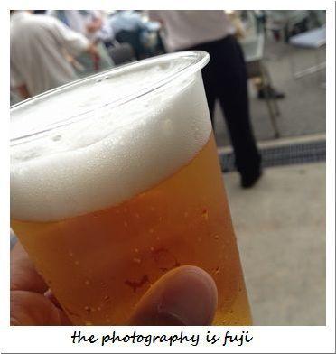 BBQで生ビール